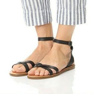 Madewell Boardwalk ankle strap sandals 9 black